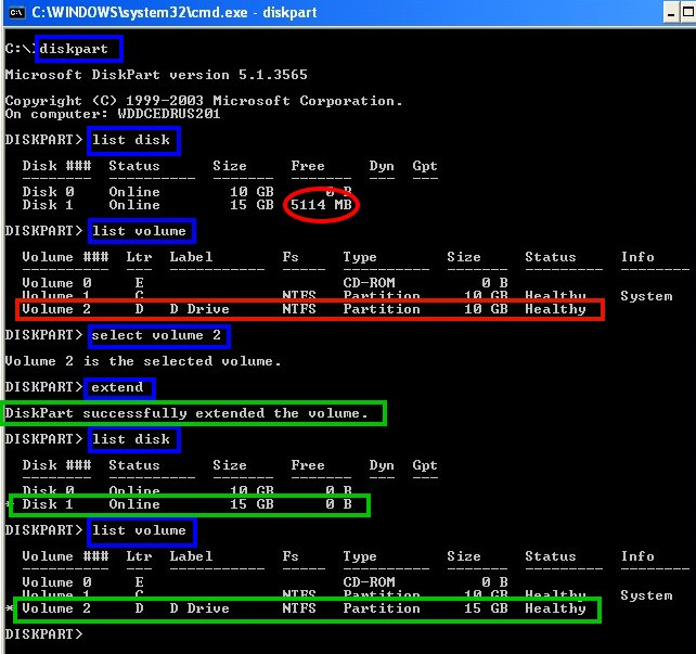 expand disk boot basic or dynamic using diskpart command on