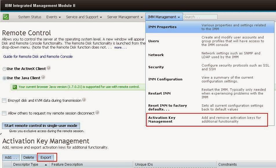 Steps to take Activation Keys Backup IBM x3650 M4 Series