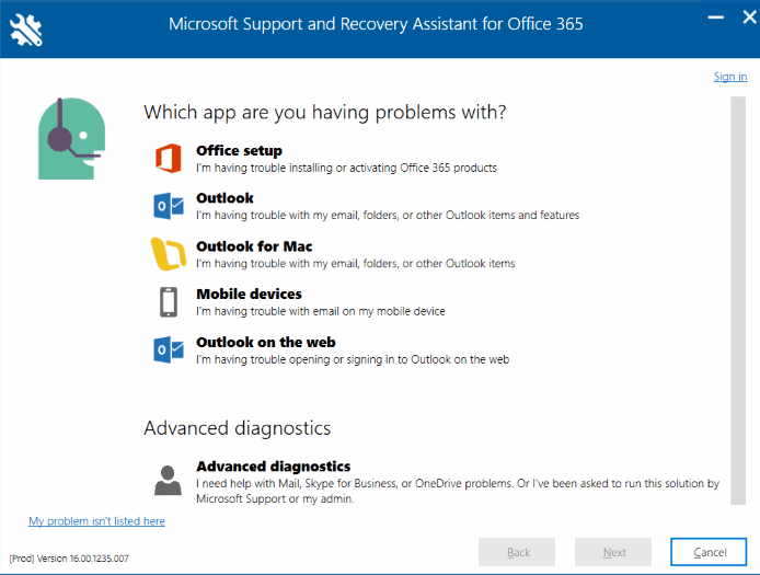 Fix Office 365 errors using Support and Recovery Assistant Tool
