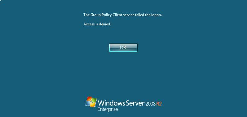 Windows 2008 Server Error Fix - The Group Policy Client service failed the logon Access denied